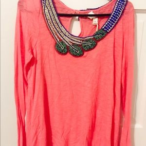 Chelsea & Violet beaded long sleeve top size s